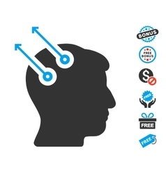 Neural interface plugs icon with free bonus vector