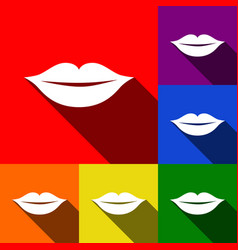 Lips sign   set of icons with vector