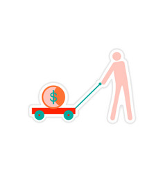 Stylish sticker on paper people money in trolley vector