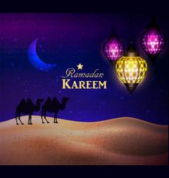 Lanterns in the desert at night sky vector