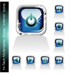 multimedia player icons set vector image