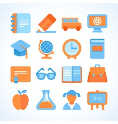 Flat icon set of education symbols vector image