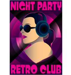 Abstract retro poster with a girl dj vector