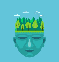 Flat design of nature on a mans head vector