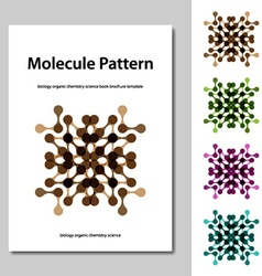 Molecule science pattern brochure template vector