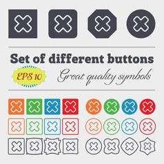 Cancel icon sign big set of colorful diverse vector