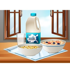 Breakfast on table with milk and cereal vector