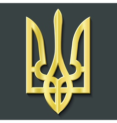 Golden ukraine coat of arms trident vector