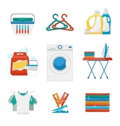 Washing and laundry flat icons vector