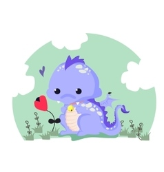 Fun of a cute dinosaur vector image