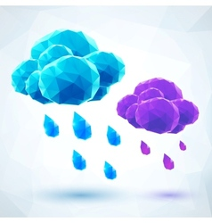 Abstract triangles rainy clouds vector image