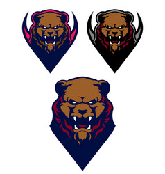 angry grizzly bear sport logo template vector image vector image