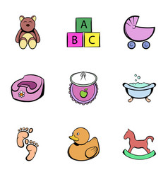 Baby things icons set cartoon style vector