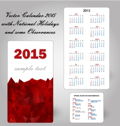 Calendar usa holidays vector