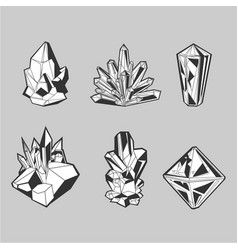 crystal set isolated icons collection grayscale vector image