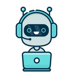 Cute smiling chat bot working in headphones vector