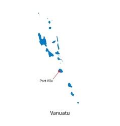Detailed map of Vanuatu and capital city Port Vila vector image