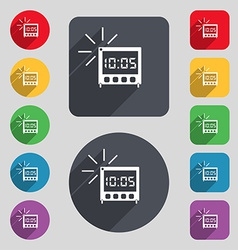 digital Alarm Clock icon sign A set of 12 colored vector image