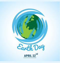 Ecology world with celebrated earth day text vector