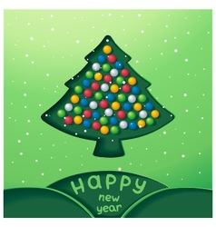 Fabulous winter snowy christmas tree with toys vector