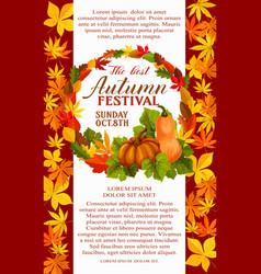 Fall festival poster of autumn vegetable and leaf vector