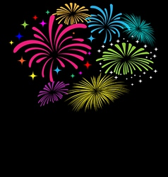 Fireworks on black background vector image