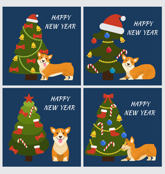 Happy new year tree and dog vector
