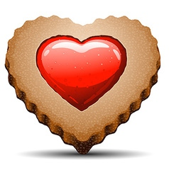 Heart shaped cookie on white background vector
