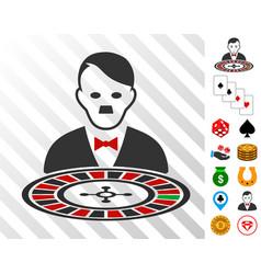 Hitler roulette croupier icon with bonus vector
