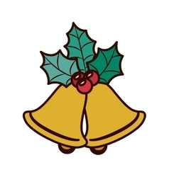 Ornament with leaves christmas and bell vector