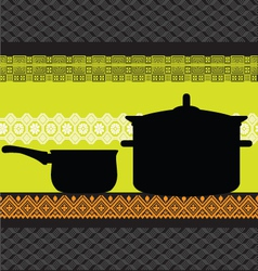 Pan and pot with ancient background vector image