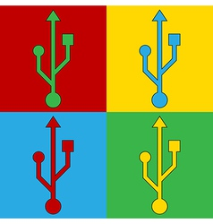 Pop art usb icons vector image vector image