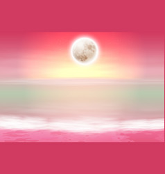 purple beach with full moon at night vector image