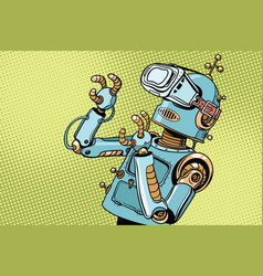 scared retro robot in vr glasses vector image vector image