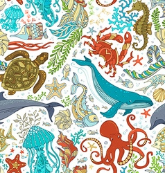 Seamless pattern of wild sea life vector