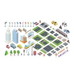 Set of city 3d elements for map vector