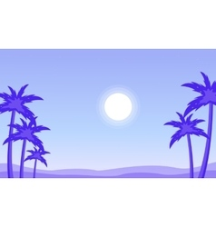 Silhouette of palm and sun landscape vector image