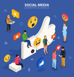 social media isometric concept young people vector image vector image