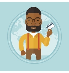 Successful businessman holding credit card vector