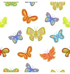 Types of butterflies pattern cartoon style vector image