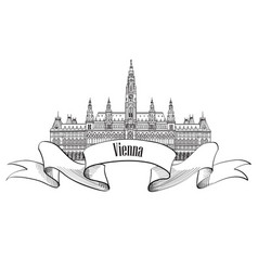 Vienna city sign famous landmark building travel vector