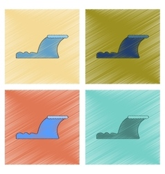 Assembly flat shading style icon disaster tsunami vector