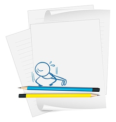A paper with a drawing of a boy doing push-ups vector image