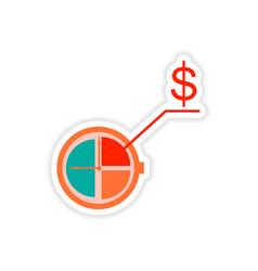 Stylish sticker on paper stopwatch money on white vector