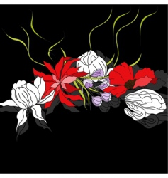 Colorful flowers on black background vector
