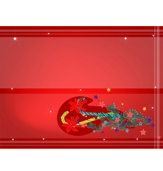 Candy Canes with Red Bow on Red Background vector image