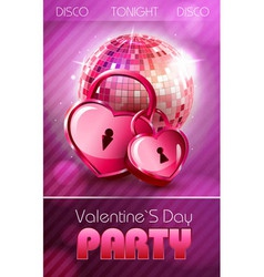 Valentine disco poster with hearts vector