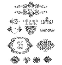 Set of calligraphic design elements vector