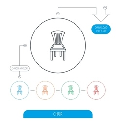 Chair icon seat furniture sign vector
