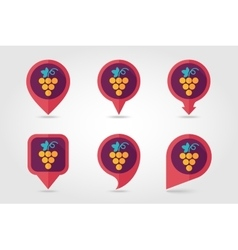 Grapes mapping pins icons vector